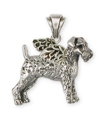Solid Silver Airedale Terrier Angel Pendant Jewelry AR10A-P