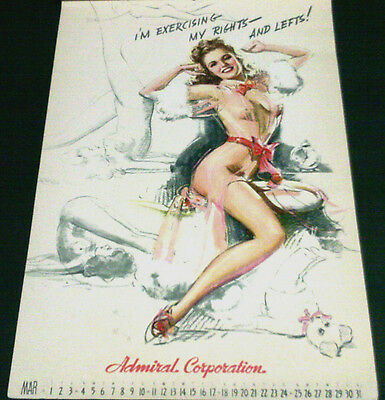 Munson March 1945 Calendar Page, 'exercising My Rights & Lefts'