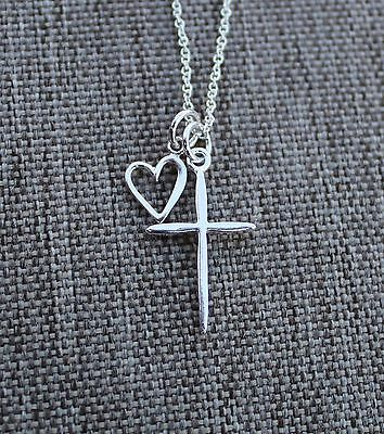 NEW 925 Sterling Silver Love Heart Cross pendant Necklace