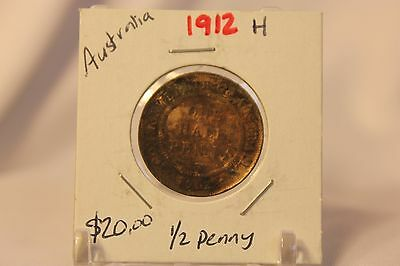 1912 H Australia 1/2 Penny Coin with Holder Thecoindigger World Coins KEY DATE