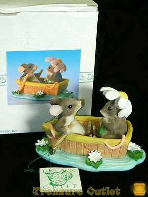 Fitz And Floyd Charming Tails Rowboat Romance Mice Couple Mouse Boat Figurine