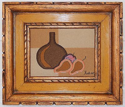 Vintage Sand Painting by Xirli Mid Century Modern Original Picture Frame 1968
