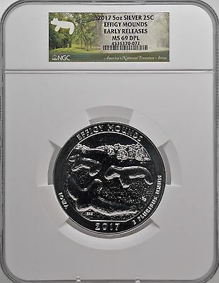 2017 5oz SILVER 25C Effigy Mounds NGC MS 69DPL Early Releases must see!