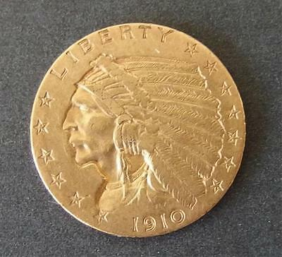 1910 2 1/2 DOLLAR INDIAN HEAD GOLD COIN Lot 79
