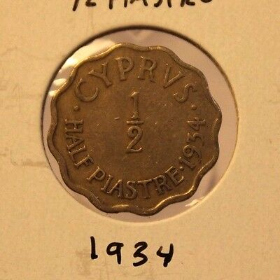 1934 Cyprus 1/2 Piastre  Coin with Holder Thecoindigger KEY DATE