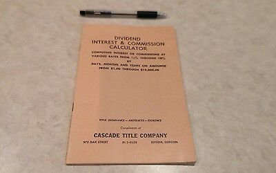 Dividend Interest Commission Calculator Cascade Title Company Eugene Oregon 1953