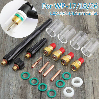 23x TIG Welding Torch Collet Stubby Gas Lens #10 Pyrex Cup Kit For WP-17/18/26