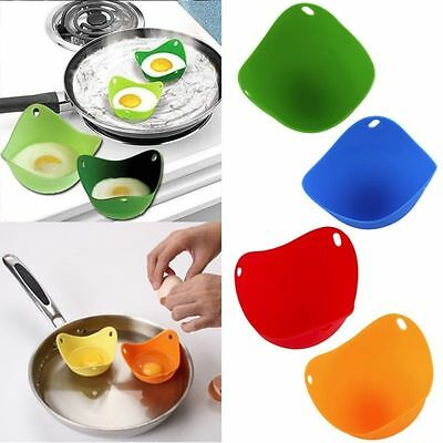 Silicone Egg Poacher Poaching Poach Cup Pods Mould Choice Cook 4 Colors