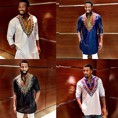 Men's Three-Quarter-Sleeve Long-line Shirt Dashiki Designs