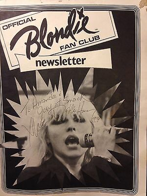Vintage 1979 UK Blondie fan club newsletter. Autographed by Debbie Harry