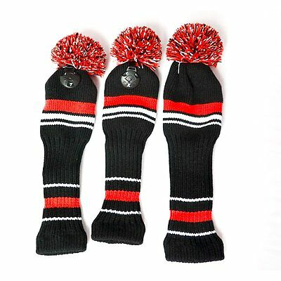 3x Golf Club Knitted Headcover Head Covers For Titleist Taylormade Number 1-3-5