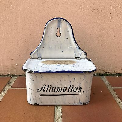 Antique enamel match / allumettes box french white marbled blue 12041712