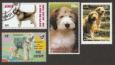 OTTERHOUND * 7 Beautiful International Dog Postage Stamps*Unique Gift*