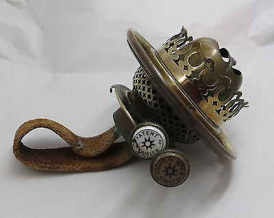 """Hinks Antique Brass Duplex Oil Lamp Burner with 4"""" Gallery - Bayonet Collar Fit"""