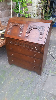 Oak Vintage Writing Bureau Hand Carved 4  drawers - Attractive Good Condition