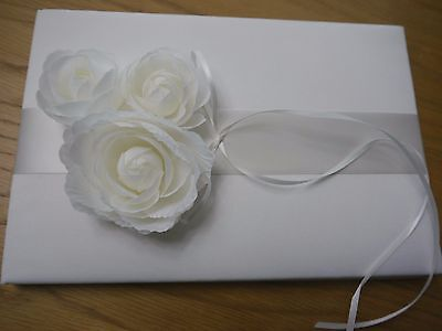 Guest Book, Ivory, Satin with Chiffon Flowers, Wedding, Gift, Present
