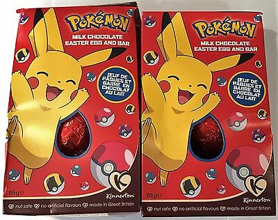 911008 2 x 65g BOXES OF POKEMON MILK CHOCOLATE EASTER EGG AND BAR, NUT SAFE! UK