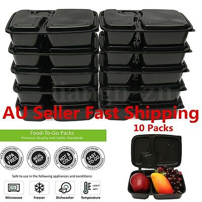 50pcs 1000ml Reusable Meal Prep Containers Plastic Lunch Boxes Set Food Storage