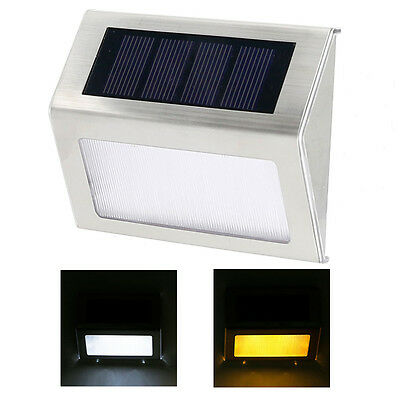 2 Led Solar Power Powered Door Fence Wall Lights Outdoor Garden Shed Lighting