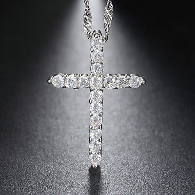 Women's Round Cut CZ Crystal Eternity Cross Pendant Necklace Chain Silver Plated
