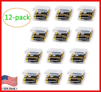 12pcs Plastic Battery Storage Box Holder Organizer Container for AA/AAA Battery