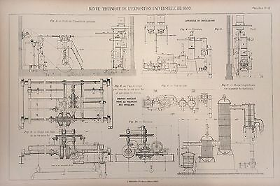 Antique 1889 Engineering Print - French - Engines Machines Mechanics 11-12