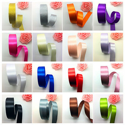 """New 1""""(25mm)Wide 5 Yards Satin Ribbon Bow DIY Craft Sewing Supplies Pick Colors"""