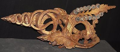 Fretwork VINTAGE chippy gold shabby chic gilded gilt Buddhist temple CARVING OLD