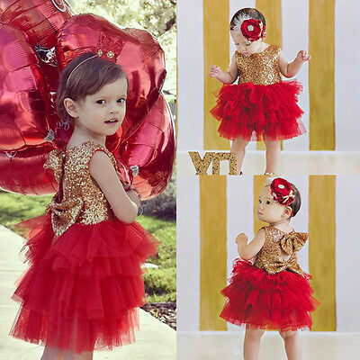 Kids Baby Girl Sequins Tutu Dress Bow Backless Party Gown Wedding Princess Dress