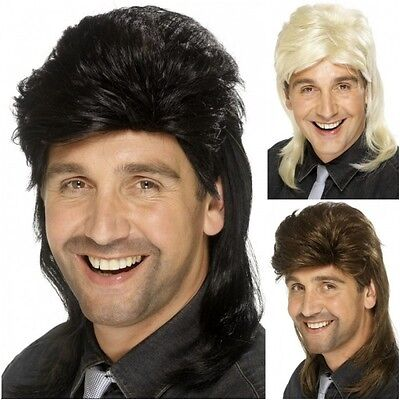 Mens 1980s Mullet Wig Adult Male Fancy Dress Costume Accessory