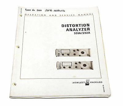 Manual Hewlett Packard HP 331A / HP 332A Distortion Analyzer Operation & Service
