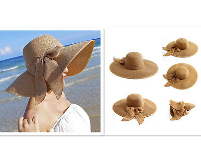 Aqua Foldable Women Floppy Straw Hat Wide Large Brim Summer Beach Sun Cap Visor