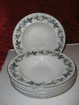 Royal Doulton Burgundy 8 Inch Rimmed Soup Bowls ,6 available