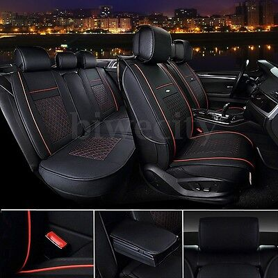 Car Seat Cover Full Set Needlework Microfiber leather Black & Red for 5 Seat Car