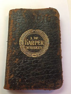 Vintage 1916 I. W. Harper Whiskey Date Book- Leather Bound