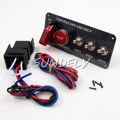 Racing Car 12V Ignition Switch Panel Engine Start Push Button LED Toggle Carbon