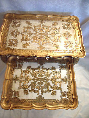 Italian Florentine 2 Nesting Tables Hollywood Regency Glam Gold Gilt Vtg PAIR