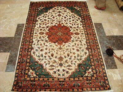 Ivory Love Kasha Hand Knotted Rug Wool Silk Carpet 6X4