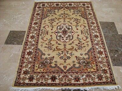 CREAM SARAFIANN FLORAL MEDALLION HAND KNOTTED RUG WOOL SILK CARPET 6x4 FB-2312