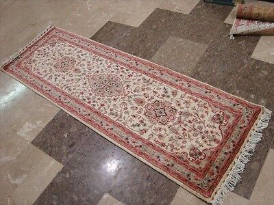 WOW IVORY FLORAL MEDALLION HAND KNOTTED RUG RUNNER WOOL SILK CARPET 6x2 FB-2490