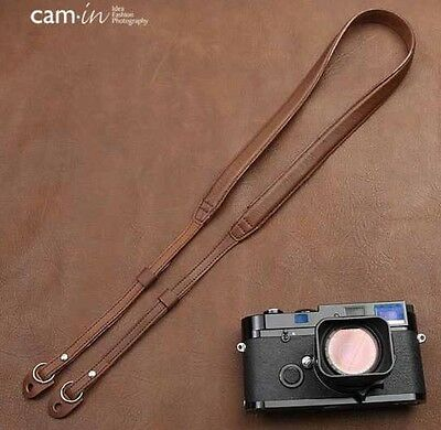 Cam-In Genuine Leather Shoulder Neck Camera Strap Brown For Sony Canon Nikon