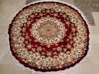 ROUND RED LOVELY MEDALLION FLORAL HAND KNOTTED RUG WOOL SILK CARPET 4x4 FB-2320