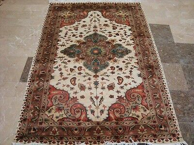 Awesome Ivory Flowral Hand Knotted Medallion Rug Wool Silk Carpet 6X4 Fb-2012