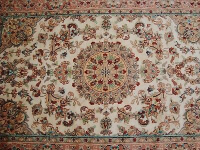 AWESOME IVORY MEDALLION FLOWERS HAND KNOTTED RUG WOOL SILK CARPET 6x4 FB-1720