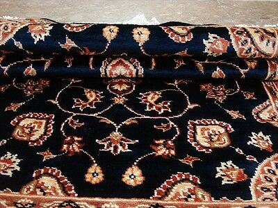 WOW MID NIGHT BLUE FLORAL MEDALION HAND KNOTTED RUG WOOL SILK CARPET 5x3 FB-2520