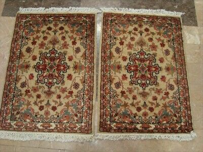 Exclusive Medallion Flower Hand Knotted Rug Wool Silk Carpet Pair 3X2 558-559