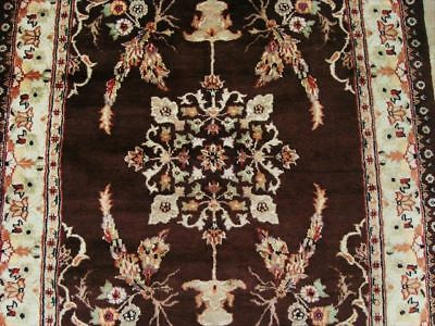 Brown Medallion Hand Knotted Rug Carpet Silk Wool 6X4