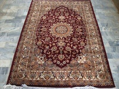 Mehroon Ruby Red Classic Area Rug Hand Knotted Wool Silk Carpet (6 X 4)'