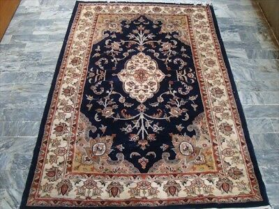 MID NIGHT BLUE HAND KNOTTED RUG WOOL SILK CARPET 6x4