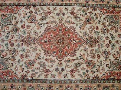 RARE AMAZED MEDALLION FLOWERS KASHA HAND KNOTTED RUG WOOL SILK CARPET 5x3